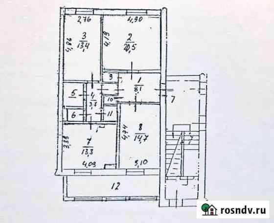 3-комнатная квартира, 91 м², 1/2 эт. Старый Городок