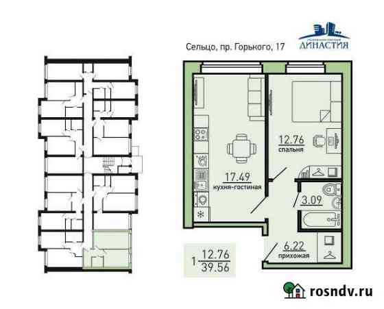 1-комнатная квартира, 39 м², 1/3 эт. Сельцо