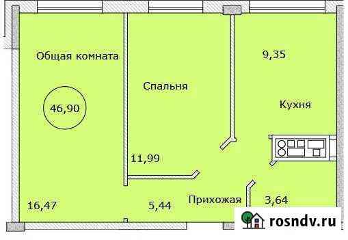 1-комнатная квартира, 46 м², 7/9 эт. Яблоновский