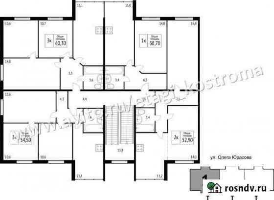 1-комнатная квартира, 38 м², 2/3 эт. Кострома