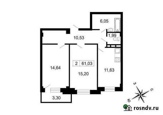 2-комнатная квартира, 61 м², 8/10 эт. Свердлова