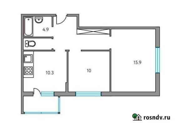 2-комнатная квартира, 52.2 м², 4/6 эт. Пироговский