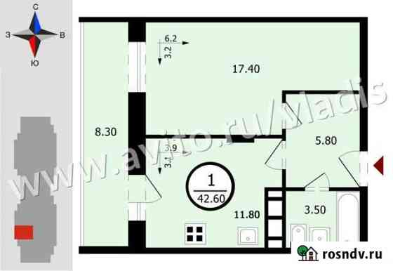 1-комнатная квартира, 44 м², 12/18 эт. Владимир