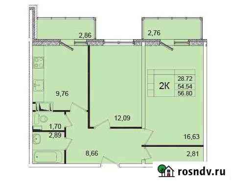 2-комнатная квартира, 54.5 м², 10/12 эт. Янино-1