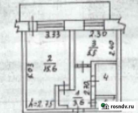 1-комнатная квартира, 28 м², 3/5 эт. Добрянка