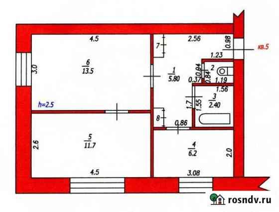 2-комнатная квартира, 41 м², 2/2 эт. Топки