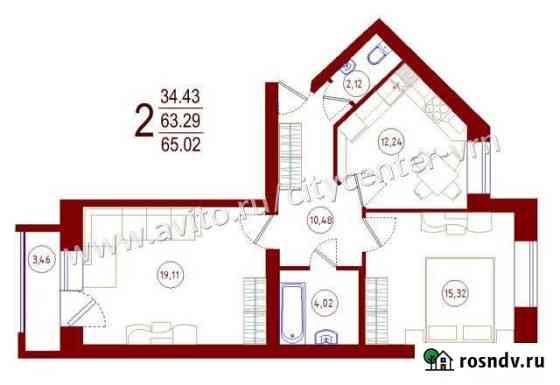 2-комнатная квартира, 65 м², 4/5 эт. Рамонь
