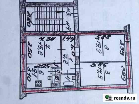 Комната 15.2 м² в 3-ком. кв., 2/4 эт. Ломоносов