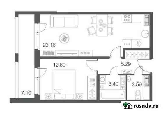 1-комнатная квартира, 47.1 м², 3/5 эт. Сестрорецк