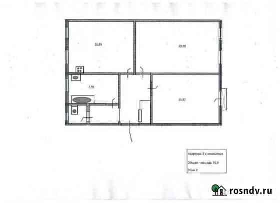 3-комнатная квартира, 76.9 м², 2/2 эт. Выборг