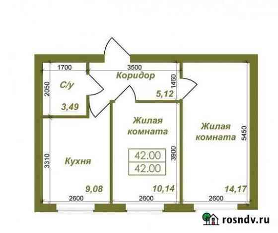 2-комнатная квартира, 42 м², 2/3 эт. Пригородный