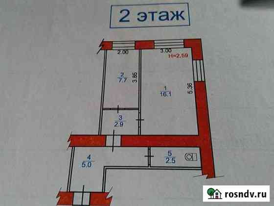 1-комнатная квартира, 34 м², 1/2 эт. Наволоки