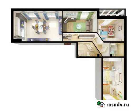 3-комнатная квартира, 83.5 м², 1/16 эт. Мурино