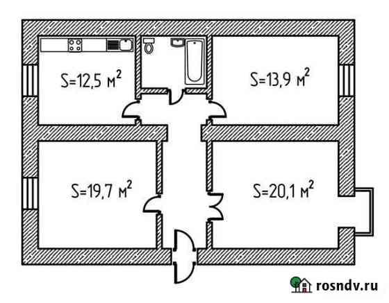 3-комнатная квартира, 80 м², 3/3 эт. Ессентуки