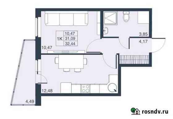 1-комнатная квартира, 31.1 м², 18/23 эт. Мурино