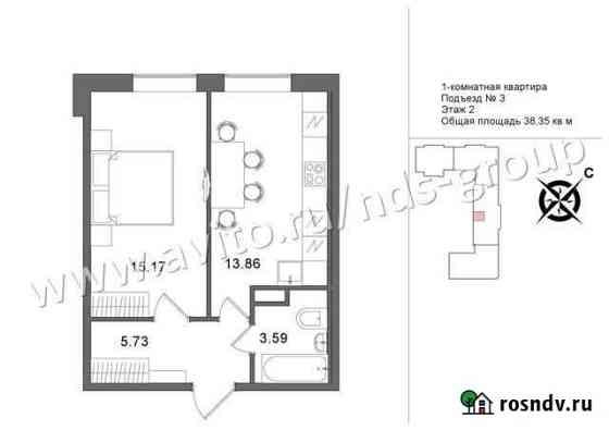 1-комнатная квартира, 38.9 м², 2/5 эт. Петрозаводск