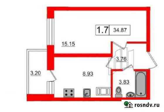 1-комнатная квартира, 34.8 м², 17/22 эт. Кудрово