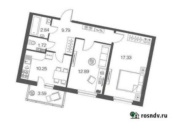 2-комнатная квартира, 54.9 м², 1/4 эт. Токсово
