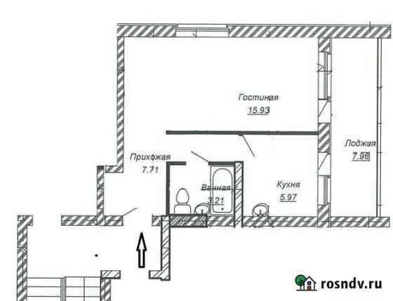1-комнатная квартира, 38 м², 3/3 эт. Лебяжье