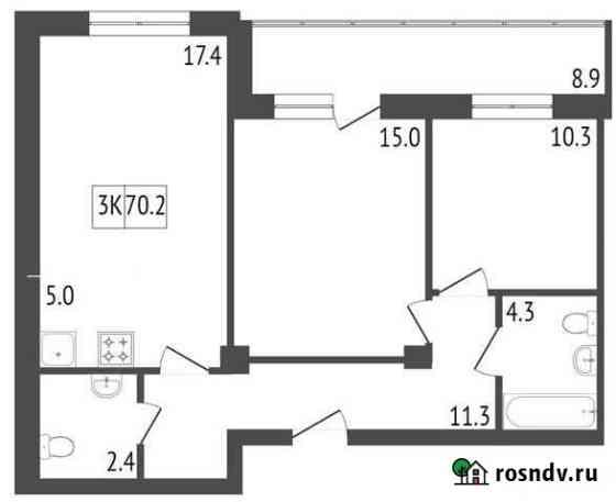 3-комнатная квартира, 70.2 м², 11/19 эт. Красноярск