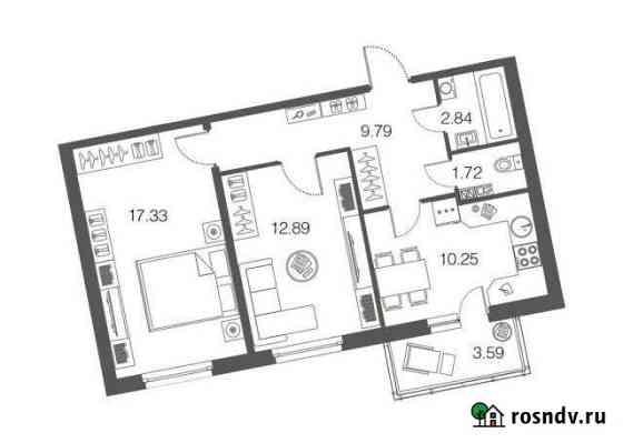 2-комнатная квартира, 54.7 м², 1/4 эт. Токсово