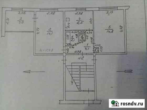 3-комнатная квартира, 50 м², 1/2 эт. Товарково