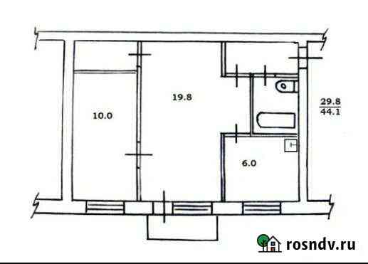 2-комнатная квартира, 44 м², 1/5 эт. Братск