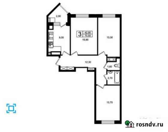 3-комнатная квартира, 71 м², 6/7 эт. Светлогорск