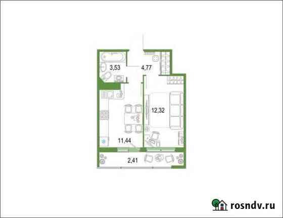 1-комнатная квартира, 34.4 м², 20/22 эт. Кудрово