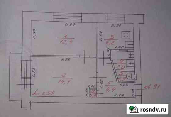 2-комнатная квартира, 41.2 м², 3/5 эт. Сегежа