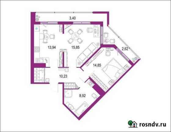 2-комнатная квартира, 69.8 м², 18/22 эт. Кудрово
