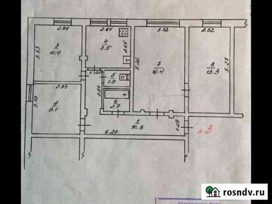 4-комнатная квартира, 71.7 м², 1/2 эт. Лесной