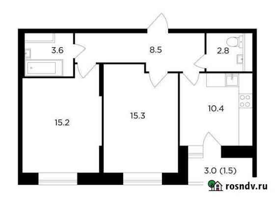 2-комнатная квартира, 57.3 м², 11/16 эт. Пушкино
