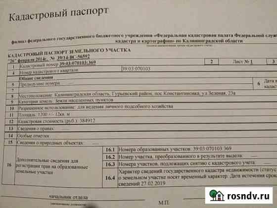 Участок 12 сот. Гурьевск