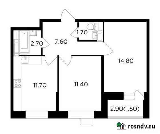 2-комнатная квартира, 51.4 м², 8/13 эт. Пушкино