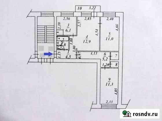 3-комнатная квартира, 56 м², 3/4 эт. Сысерть