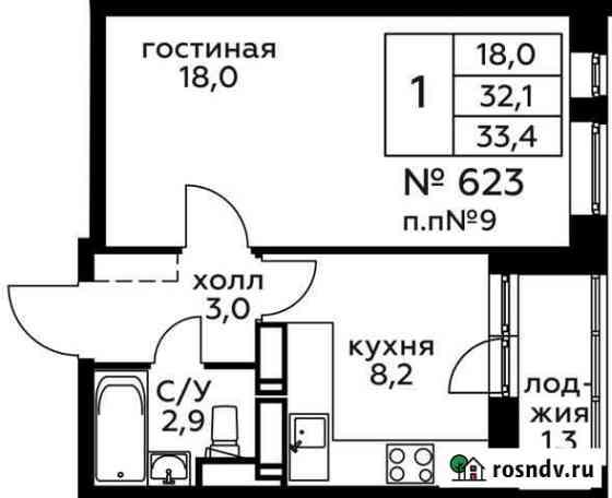 1-комнатная квартира, 33.4 м², 14/22 эт. Балашиха
