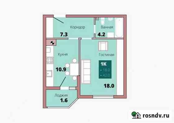 1-комнатная квартира, 42 м², 1/8 эт. Калининград
