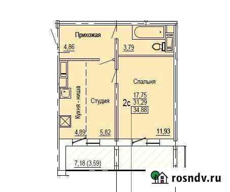 1-комнатная квартира, 34.9 м², 13/18 эт. Челябинск