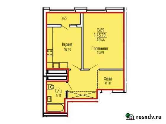1-комнатная квартира, 49.4 м², 4/19 эт. Уфа