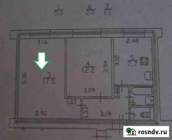 Комната 17.5 м² в 2-ком. кв., 1/9 эт. Санкт-Петербург