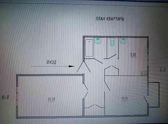 2-комнатная квартира, 55,6 м², 2/3 эт. Полысаево