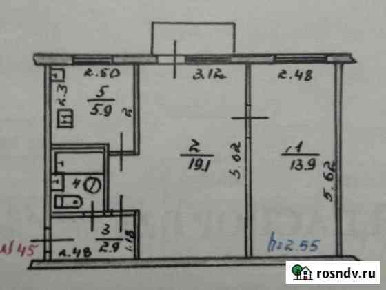 2-комнатная квартира, 45 м², 4/4 эт. Ленинское