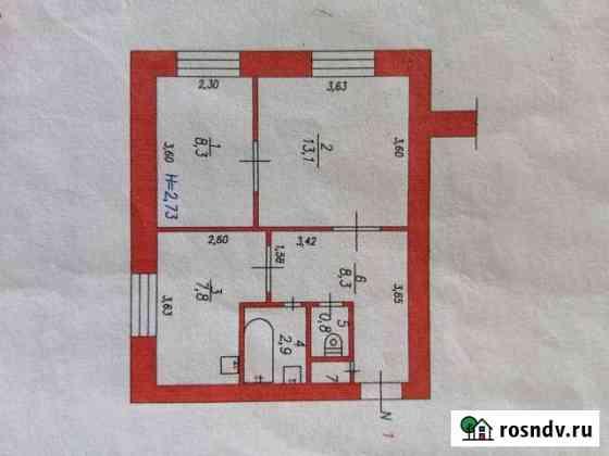 2-комнатная квартира, 42 м², 1/3 эт. Новый Городок
