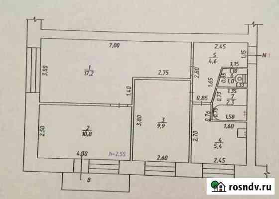 3-комнатная квартира, 53 м², 2/5 эт. Краснобродский