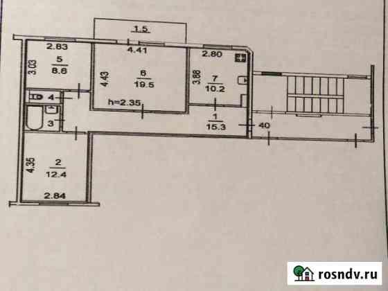 3-комнатная квартира, 69 м², 5/5 эт. Остров
