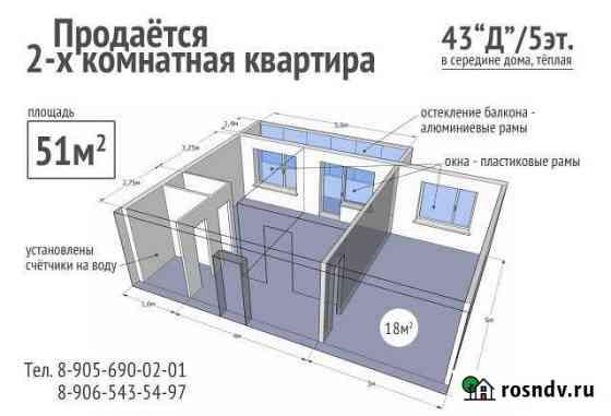 2-комнатная квартира, 51 м², 5/5 эт. Новомичуринск