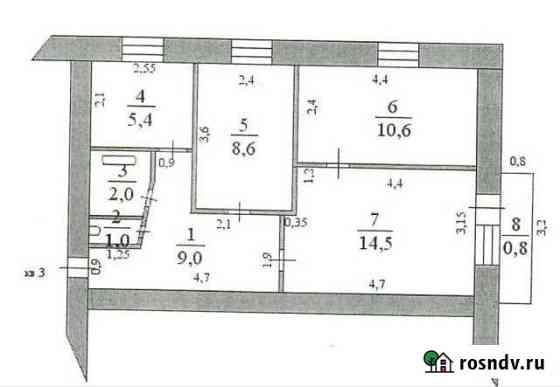 3-комнатная квартира, 51 м², 3/5 эт. Морозовск