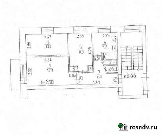 3-комнатная квартира, 51 м², 4/5 эт. Звездный