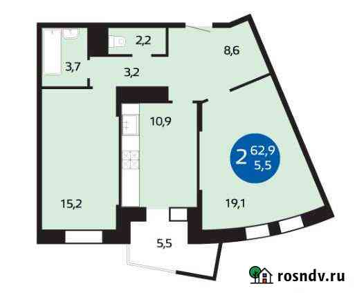 2-комнатная квартира, 68 м², 3/17 эт. Одинцово